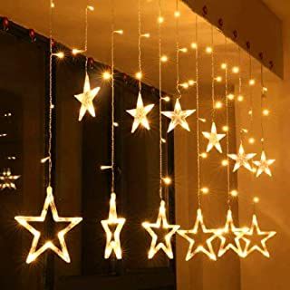 Techzere® Star Light Curtain, String Lights with 12 Hanging Golden Stars, 8 Flashing Modes, Decoration for Birthday, Festival, Festive Occasion, Wedding, Party - for Home, Patio, Lawn, Restaurants