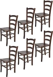 Tommychairs sillas de Design - Set 6 sillas Modelo Venice para Cocina, Comedor, Bar y Restaurante, con Estructura en Madera Color Nuez Oscuro y Asiento en Madera