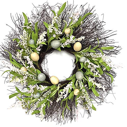 Vobery Gnome Easter Wreath for Front Door with Branch and Eggs Easter Tree Vine