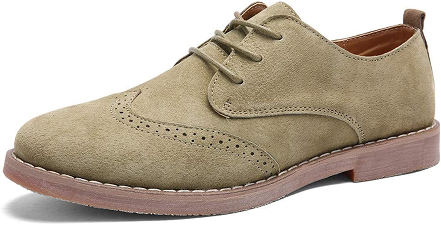 ZHRUI Men shoes Classic Business Brogue Leather Casual shoes Sandals (color   Khaki, Size   9=43 EU)