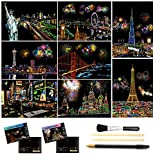 Scratch & Sketch Art (A4) for Kids & Adults, Rainbow Painting Night View Scratchboard, Art&Craft, Engraving Art Set: 8 Sheets Scratch Cards & Scratch Drawing Pen, Clean Brush (American &Fireworks)