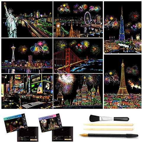 Scratch Painting, Scratch Art Rainbow Paper A4 for Adults and Kids,DIY Art Craft Night View Scratchboard with 4 Tools, 8 Pcs 11.6 X 8.3 Inches (North America Scenery)