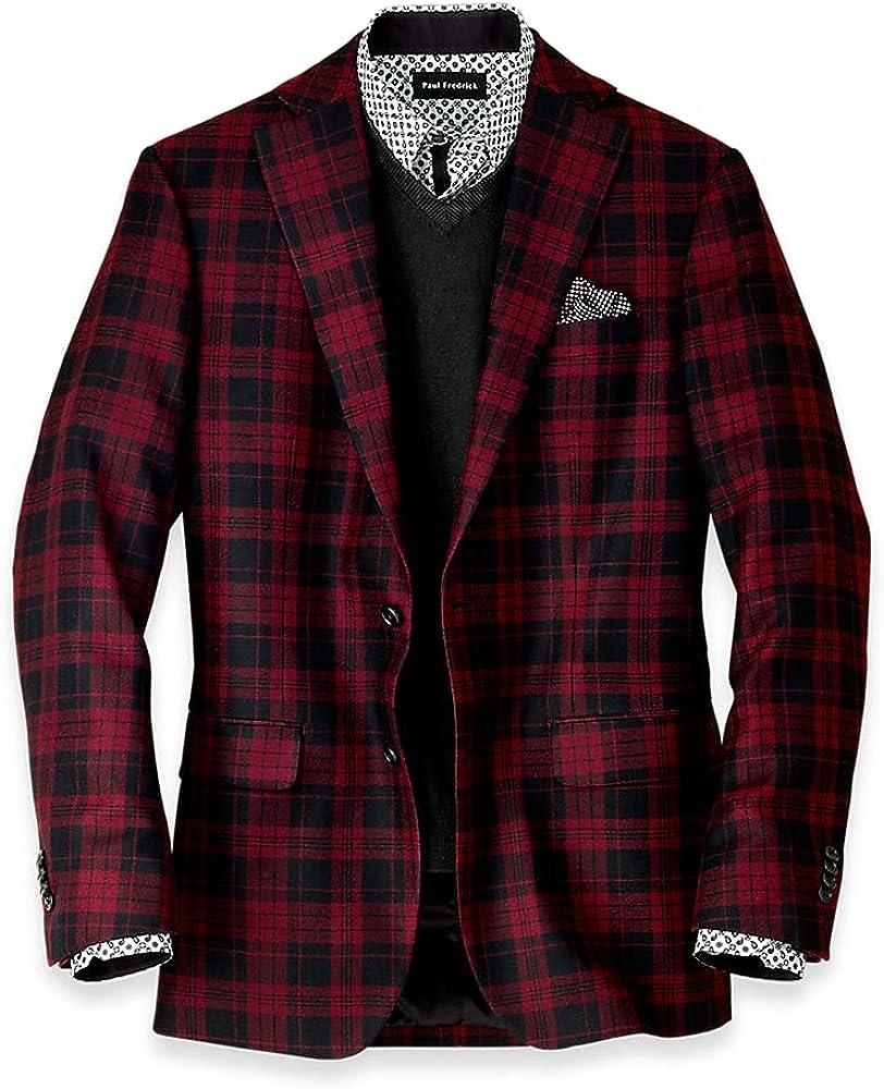Paul Fredrick Men's Wool Plaid Notch Lapel Sport Coat