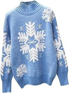 Women's Fuzzy Mock Neck Sweater Snowflakes Crochet Fleece Full Sleeve Knitted Pullover Sweatshirt Tops Winter Warm Jumper Outwears