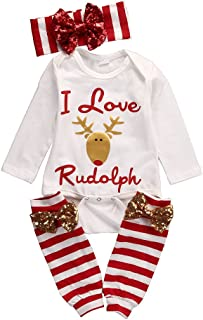 MA&BABY Newborn Baby Girl I Love Rudolph Romper Leg Warmer Outfits Christmas Clothes