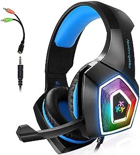 ARKARTECH Audífonos Gamer con Micrófono para PS4 Xbox One PC Switch, Auriculares Alámbrico y 7 Luz LED Control de Volumen,...