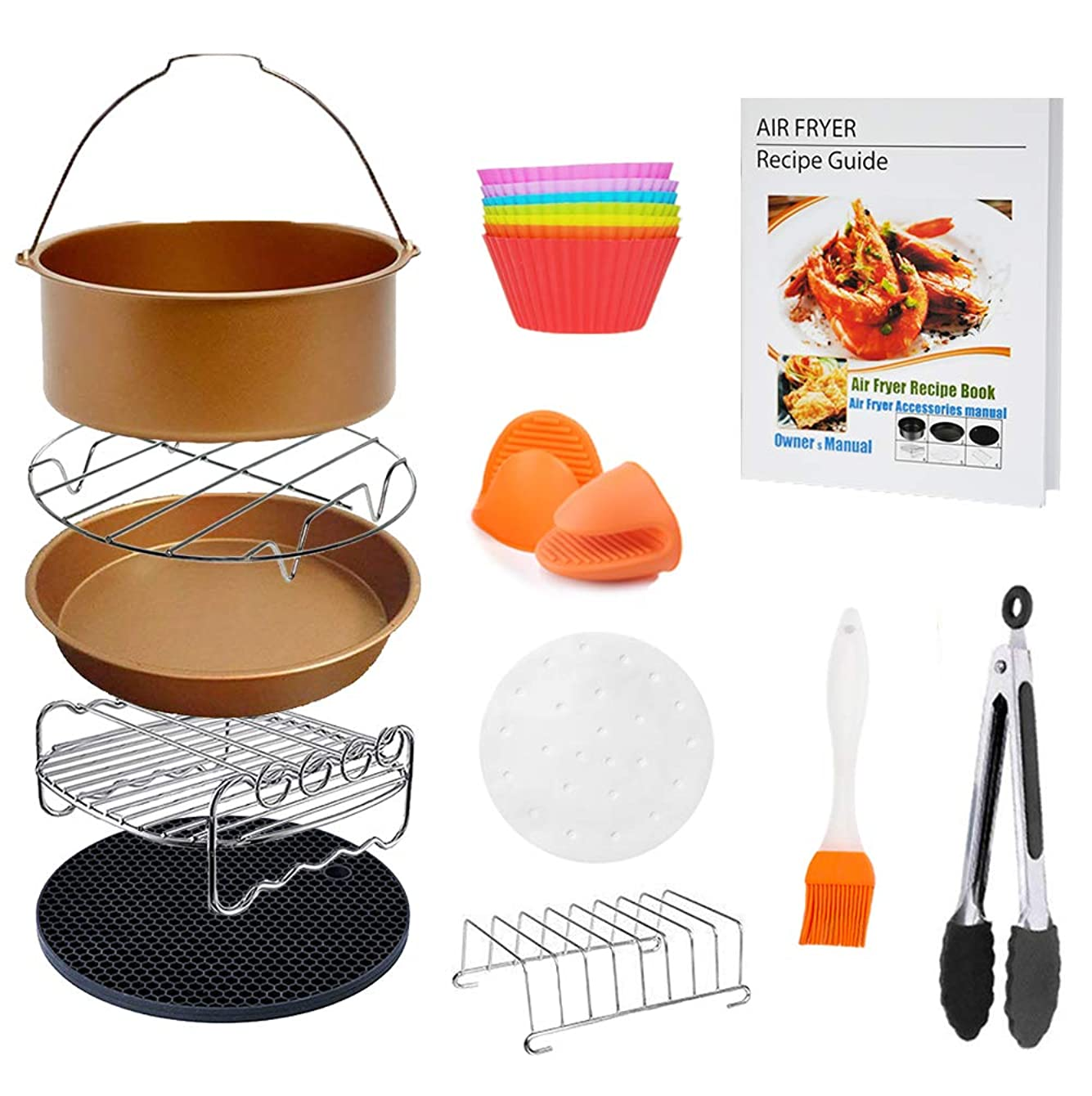 8 inch XL Air Fryer Accessories 11 pcs with Recipe Cookbook Compatible for Gowise USA Cozyna Airfryer XL 5.3QT – 5.8QT, Deluxe Deep Fryer Accessories Set of 12 - Champagne Gold