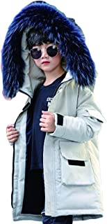 2019 Winter Korean Version of Black and White Windproof Children's Down Jacket, Long Boy in The Big Boy Thick Boy Hooded Jacket,White,160