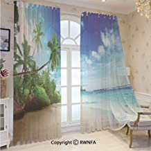 RWNFA 2 Piece Voile Window Sheer Curtains Beach Sunset Tranquil Tropic Sea Waves Grommet Panels for Bedroom Decor & Living Room,Size 52