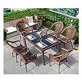 WANGQW Conjunto de bistró de ratán con sillas de Mesa de Sets de Muebles de jardín de ratán Conjuntos de Patio y sillas Conjuntos de Vidrio Top Tabla de café Patio Set Mesa de Centro