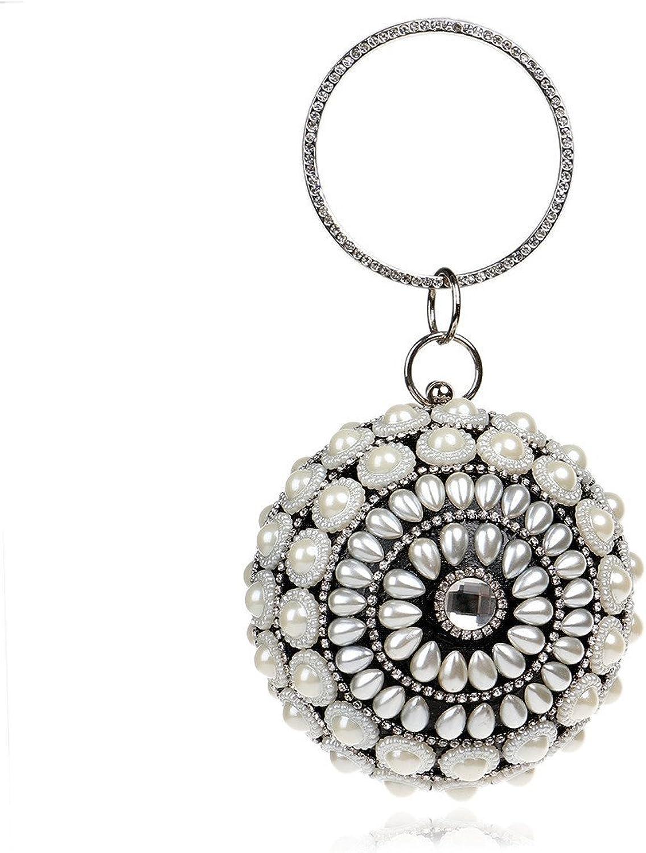 Cross Women Ball Clutch Purse Pearl Evening Handbag Mini Small Cute for Work (color   Black)