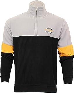 BRAVE SOUL Mens Fleece Sweatshirt Two Tone Funnel Neck Half Zip Flynn Casual Winter Fashion