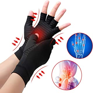 Waxden Copper Compression Arthritis Gloves, Best Copper Infused Glove for Women and Men, Fingerless Arthritis Gloves, Pain Relief and Healing for Arthritis, Carpal Tunnel, 1 Pair, Black (Small)