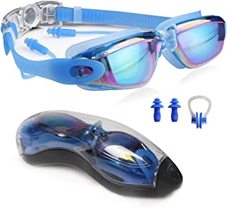 DTF Anti Fog Swimming Goggles, Comfortable Silicone Water Sports Nose Clip & Earplugs, Leaking Anti-Fog UV Protection Pool Goggles
