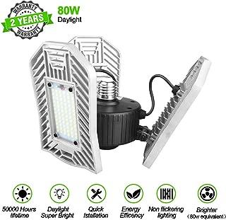 Led Garage Lights 80W, Led Garage Lighting 8000lm,E26 Garage Light, Shop Lights for Garage with 3 Adjustable Wings, Bright Garage Light Bulb for Workshop, Basement, Warehouse (No Motion Detection)
