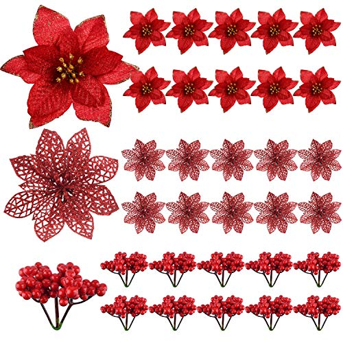 TUPARKA 30 Pcs Artificial Red Christmas Poinsettia Flowers and Holly Berries for Christmas Tree Ornaments Decorations, Christmas Flowers Wreath Decorations Holiday Seasonal Crafts Supplies