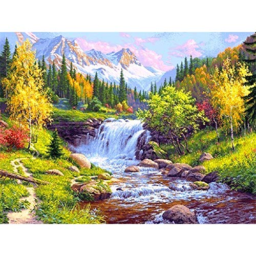 DIY 5D Diamond Painting Waterfall Mountain Landscape Set Full Drill Diamond Embroidery Mosaic Picture of Rhinestones A3 30x40cm