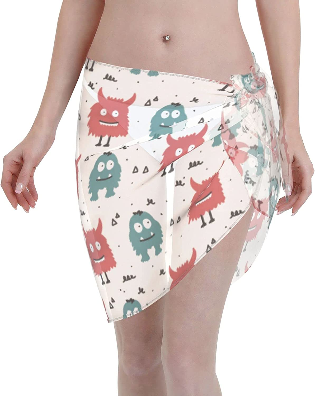Reindeer Horn Women Short Red and Blue Monster Sarongs Cover Ups Beach Chiffon Sarong Bikini Swimwear