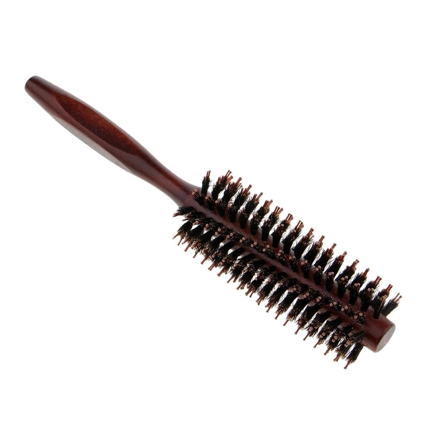 子供っぽい調和のとれた喜ぶPerfeclan ラウンドヘアブラシ 木製ハンドル 丸い 櫛 自然な毛 整髪 ヘアブラシ 2タイプ選べ - #2