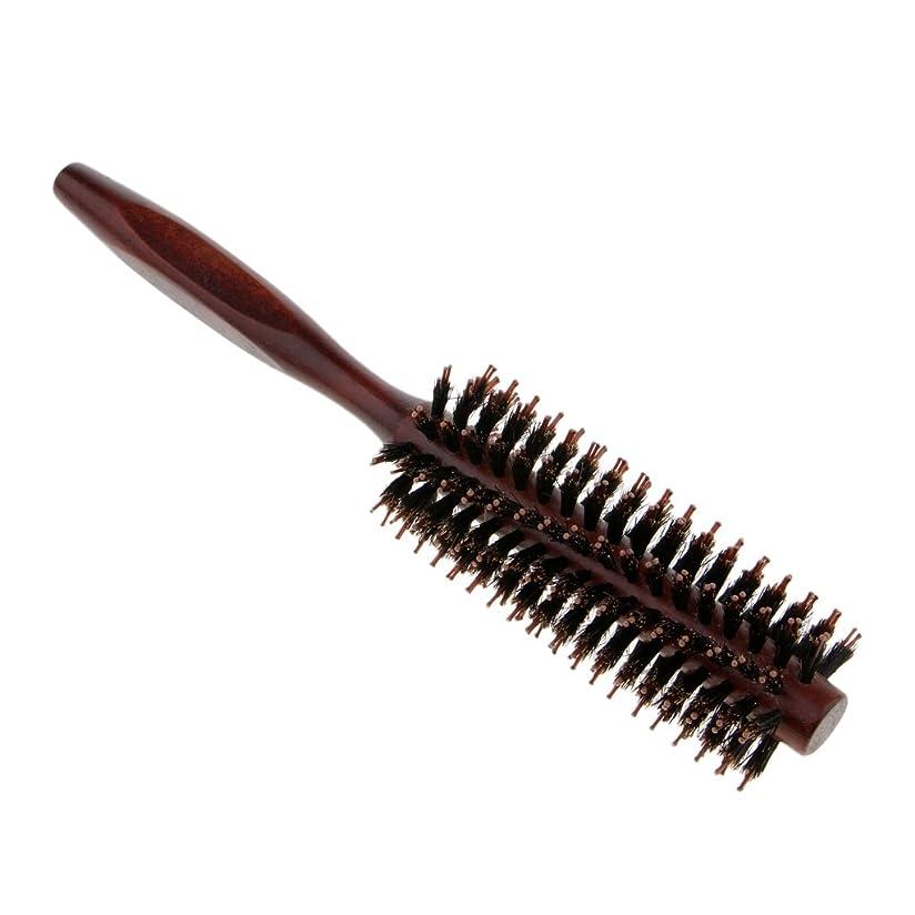 宇宙船可塑性農奴Perfeclan ラウンドヘアブラシ 木製ハンドル 丸い 櫛 自然な毛 整髪 ヘアブラシ 2タイプ選べ - #2