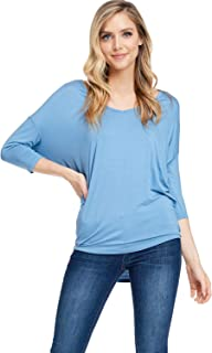 Women's Soft Knit V-Neck Dolman Tunic Top with ¾ Long Sleeves