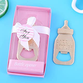 Pack of 48 Baby Shower Return Gifts for Guest Supplies Poppin Baby Bottle Shaped Bottle Opener with Exquisite packaging Wedding Favors Opener Party Souvenirs decorations by WeddParty(Pink Pack of 48)