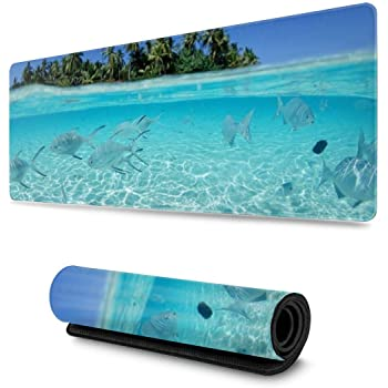 29.5x15.7x0.12 Inch Palm and Tropical Beach Design Pattern XXL XL Large Gaming Mouse Pad Mat Long Extended Mousepad Desk Pad Non-Slip Rubber Mice Pads Stitched Edges