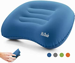 HuTools Inflatable Camping Pillow Backpacking Pillow Lightweight Travel Air Pillow Ultralight Ergonomic Pillow Portable for Airplanes and Road Trips with Neck & Lumbar Support