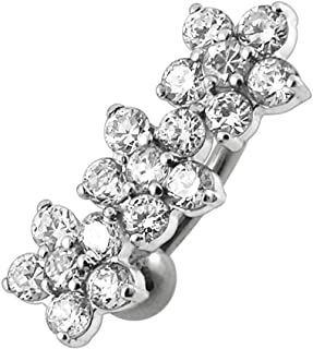 Fancy Triple Flower Reverse Bar 925 Sterling Silver with Stainless Steel Belly Button Navel Rings