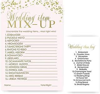 Pink and Gold Bridal Shower Games Word Scramble Trivia Set of 25