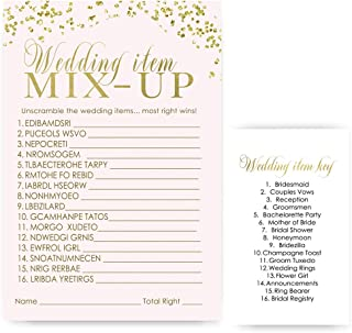 Pink and Gold Bridal Shower Game Word Scramble - Set of 25