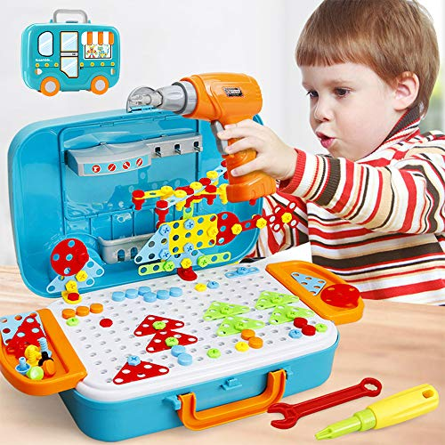 Style-Carry Drill Design Puzzle Creative Toys – 310 Pcs Electric Drill Screwdriver Building Creative Mosaic Take Apart Blocks Assembly STEM Educational Construction Set For Ages 3 4 5 6 7 8 Kids Boys