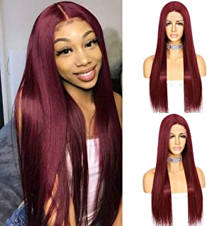 Long Straight Hair Burgundy Red Color Kanekalon Futura Hair Deep T-part Lace Wig Glueless Heat Resistant Synthetic Lace Fr...