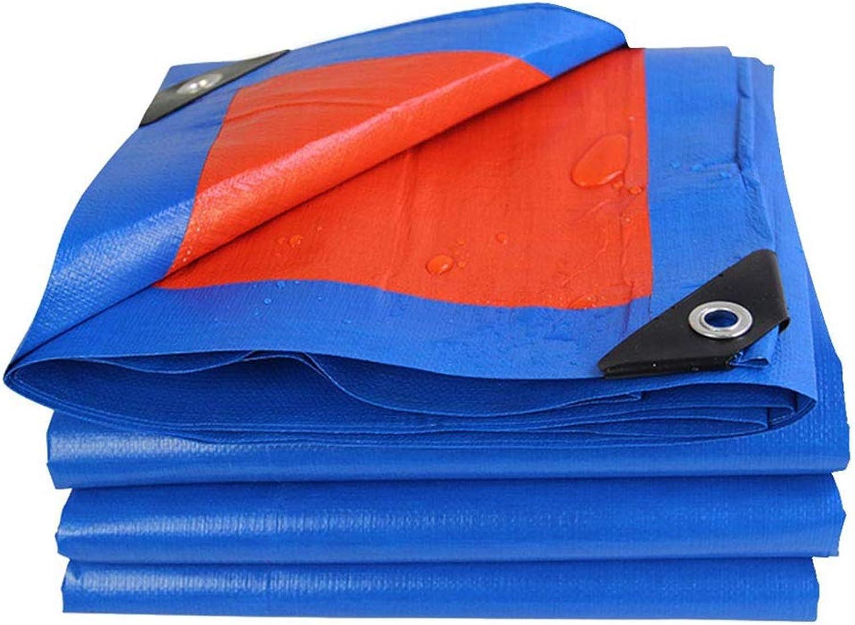 Tarp Waterproof Tarpaulin with Eyelets Rainproof Tarp Thicken PE Awning Sunscreen Shed Cloth, 180g m2 blueee + orange