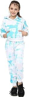Kids Girls Jogging Suit Tie Dye Print Hooded Crop Top Bottom Tracksuit 5-13 Year