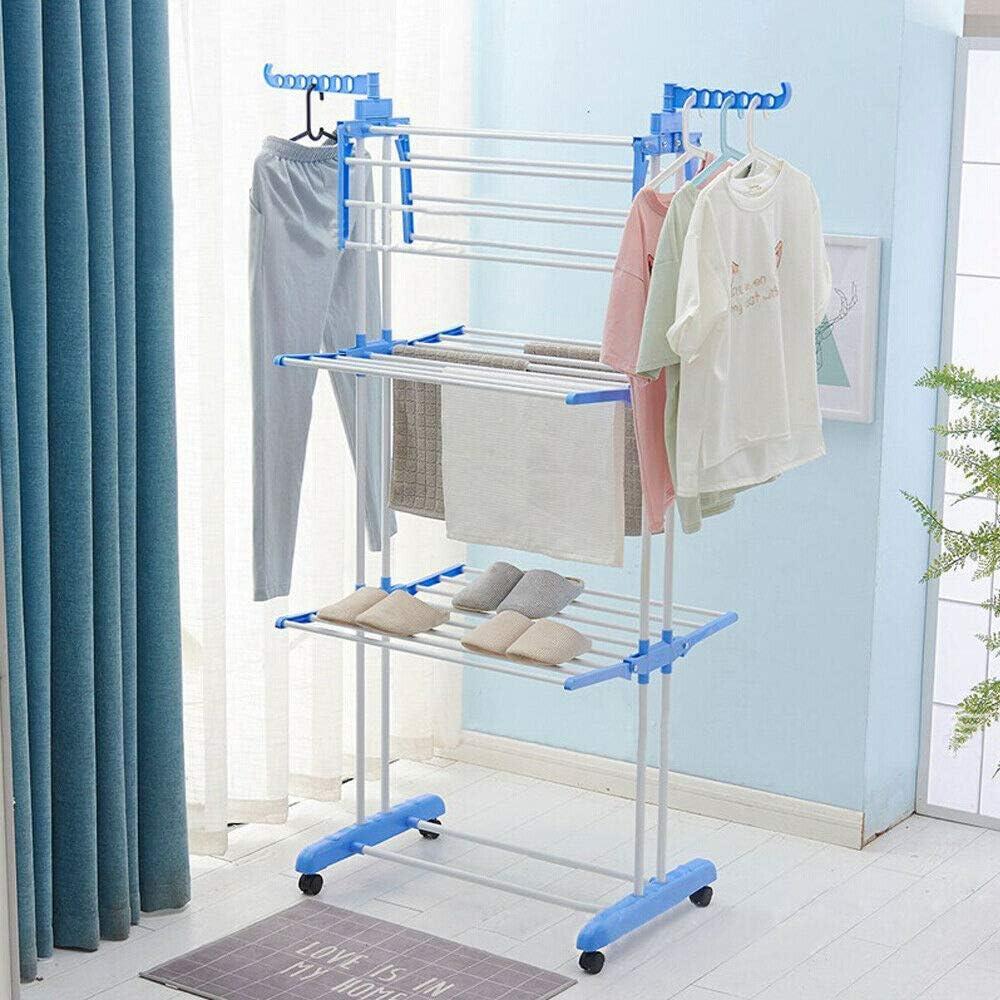 超人気 Clothes Drying Rack Shoe 大幅値下げランキング Hangers with 2 Si 3-Layer