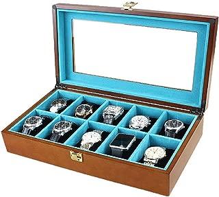 LCLZ 10 Grid Watch Box Jewelry Bracelet Registration Wear Wooden Transparent Glass Cover Window Display Box Blue Flannel Men/Women Travel Storage Box Gift