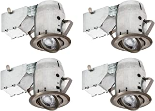 Nadair CP734L-4BN 4 Pack 3in LED Swivel Dimmable Downlight Recessed Light, 3000K, 4 X GU10 550 Lumens Bulbs Included, IC Rated, Brushed Nickel