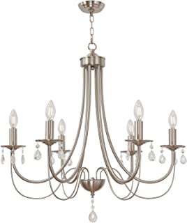 Lucidce Brushed Nickel Candle Chandelier with Crystal Modern Farmhouse Lighting 6 Lights Kitchen Pendant Light Hanging for Dining Room Living Room