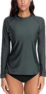 ALove Women Long Sleeve Rashguard Swimsuit Quick Dry Swim Shirt Loose Fit Athletic Top