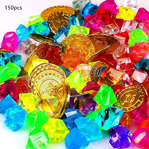 FUNVCE Goldmünzen des Piratenschatz und Piraten Schmucksteine 50 Stücke Goldmünzen Kinder und 100 Stücke Piraten Edelsteine für die Piraten-Partys,Schätze für Schatzsuche