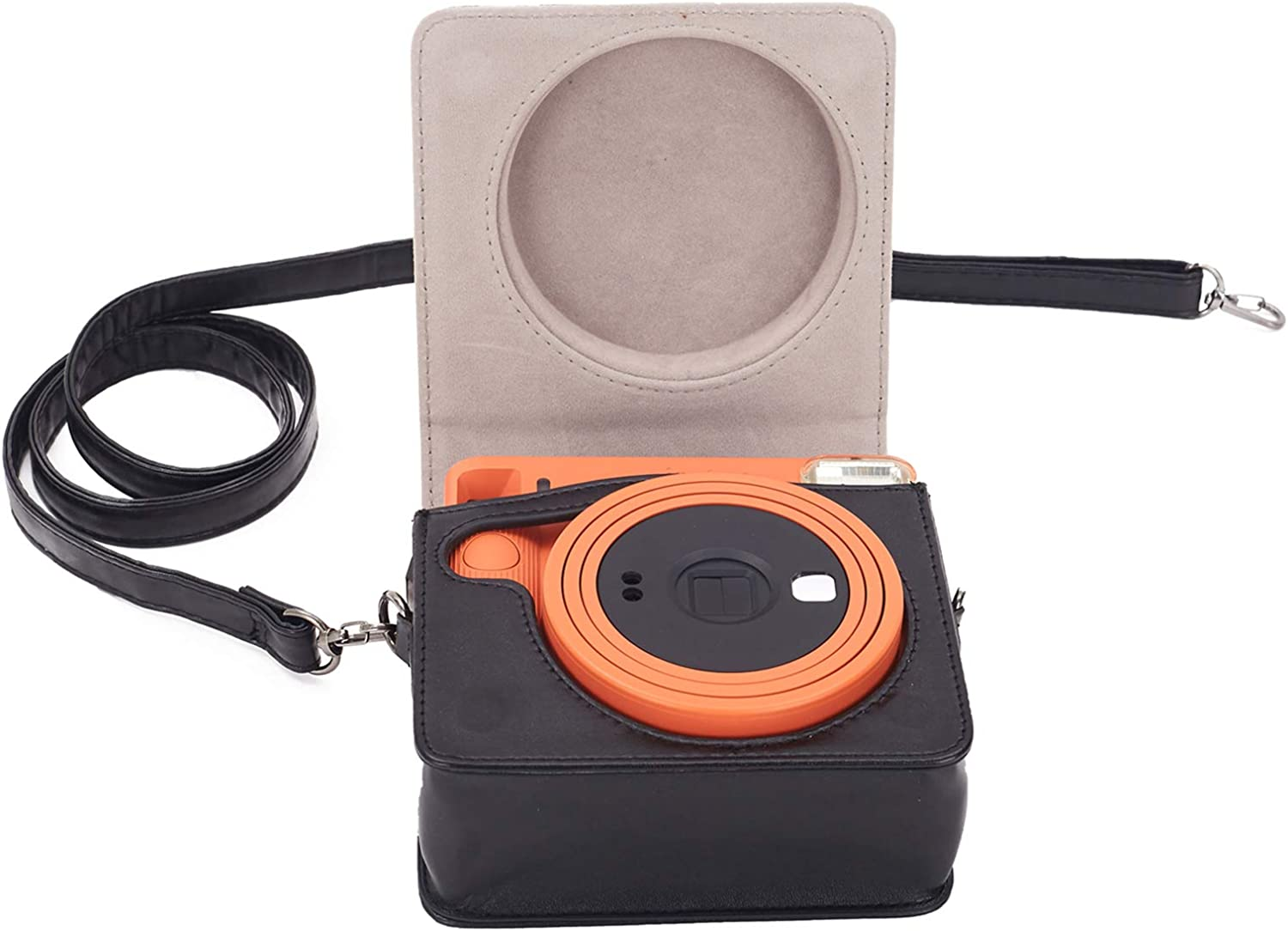 Leebotree Instant Camera Protective Case Compatible with Instax SQUARE SQ1 Instant Camera Black Soft PU Leather Bag with Removable//Adjustable Shoulder Strap
