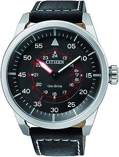ساعة تعمل بالطاقة الشمسية وعرض انالوج وسوار جلدي للرجال من سيتيزن AW1360-04E