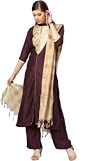 Inddus Purple & Cream Silk Blend Solid Suit Set with Woven Woven Dupatta (Fully-Stitched).