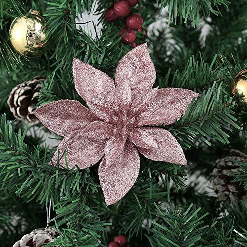 Yueshop 10 Pcs Glitter Christmas Flowers with Artificial Poinsettia Flower Christmas Tree Flower Decorations Xmas Tree Ornaments (Rose Gold, 15CM)