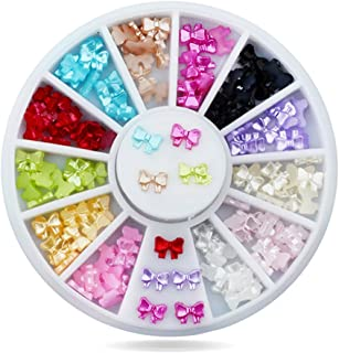 Sponsored Ad - RoseFlower Nail Bowknot Wheel 12 Colors Bow Tie Nail Decorations Colorful Butterfly 3D DIY Fingernail Art O...