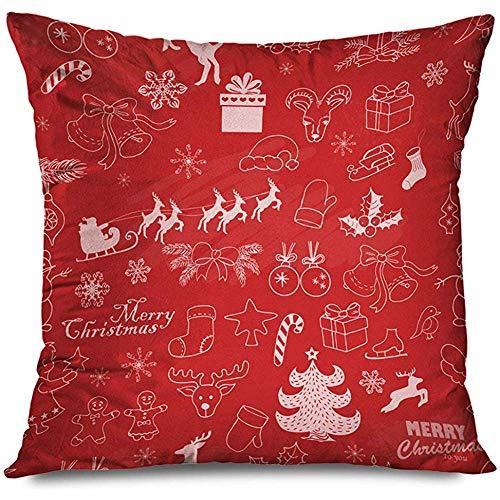Aoyutiy Decoratieve kussen-afdekkings-frohe kerstseizoen naadloze hengel traditioneel patroon textuur op rode textuur rits Pillowcase