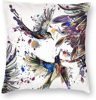 Funda de almohada con diseño de pájaro Colibrí con flores de lirio Pájaros y salpicaduras de color en estilo de pintura de acuarela Funda de cojín de terciopelo Sofá para el hogar Funda de almohada d