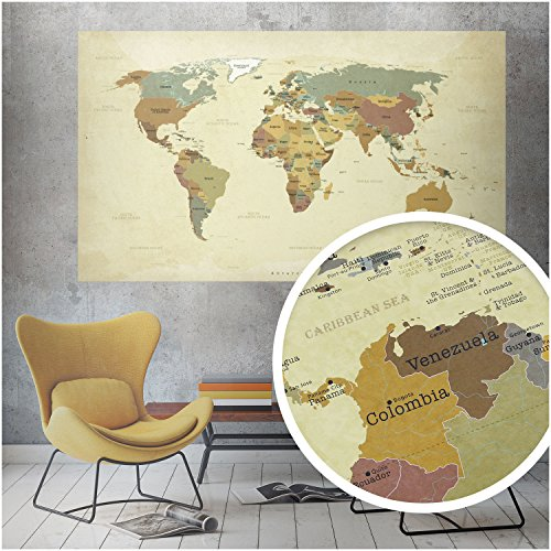 beneart Vintage World Map Poster Large Map of Europe Gift Ideas Wall Picture Old 140 x 82 cm