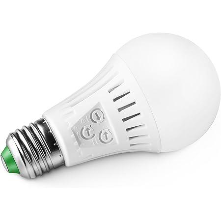 Elrigs Bombilla con Sensor de Movimiento y Crepuscular Inteligentes e27 Luz Blanco Calido 3000k 7w Led (60w) 3-Via-Regulable de Rango/Duración/Detector de luz para pasillo exterior